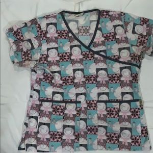 EUC Tafford Christmas themed scrub top size small